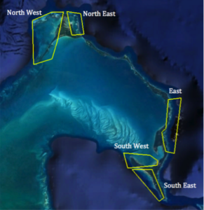 Map of five regions dividing Eleuthera into bonefish tagging areas.